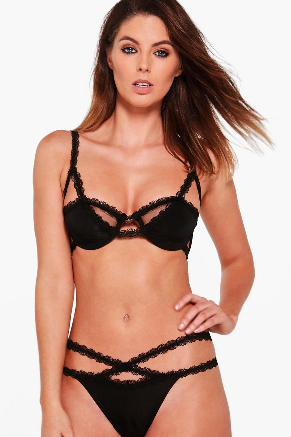 Amy Strap Detail Bra And Thong Set