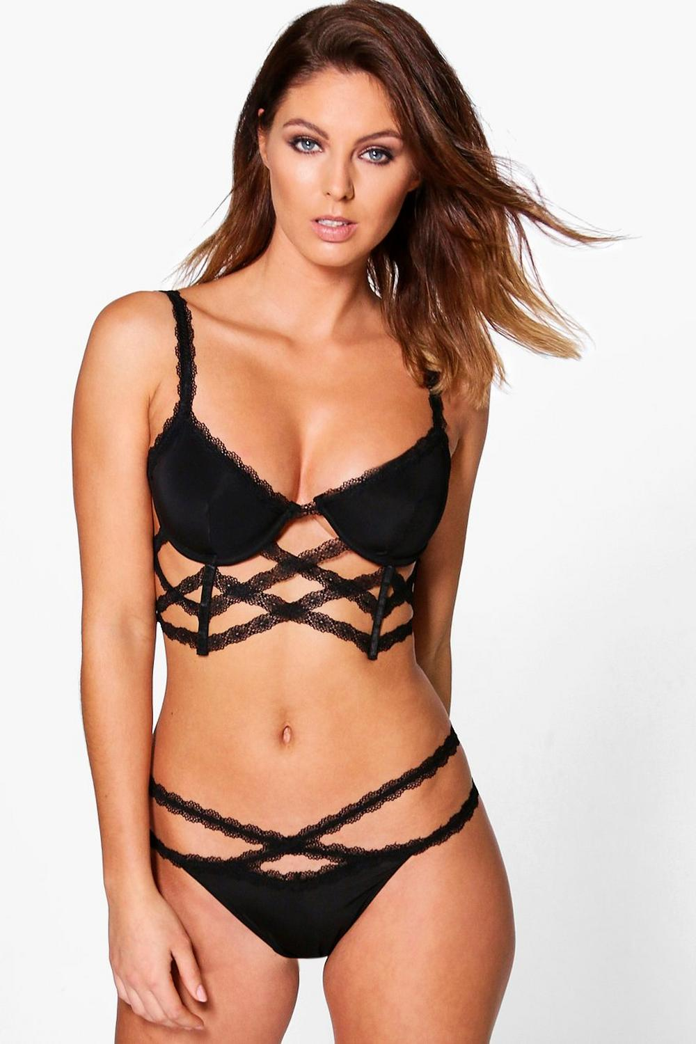 Millie Lattice Strap Detail Bra And Thong Set