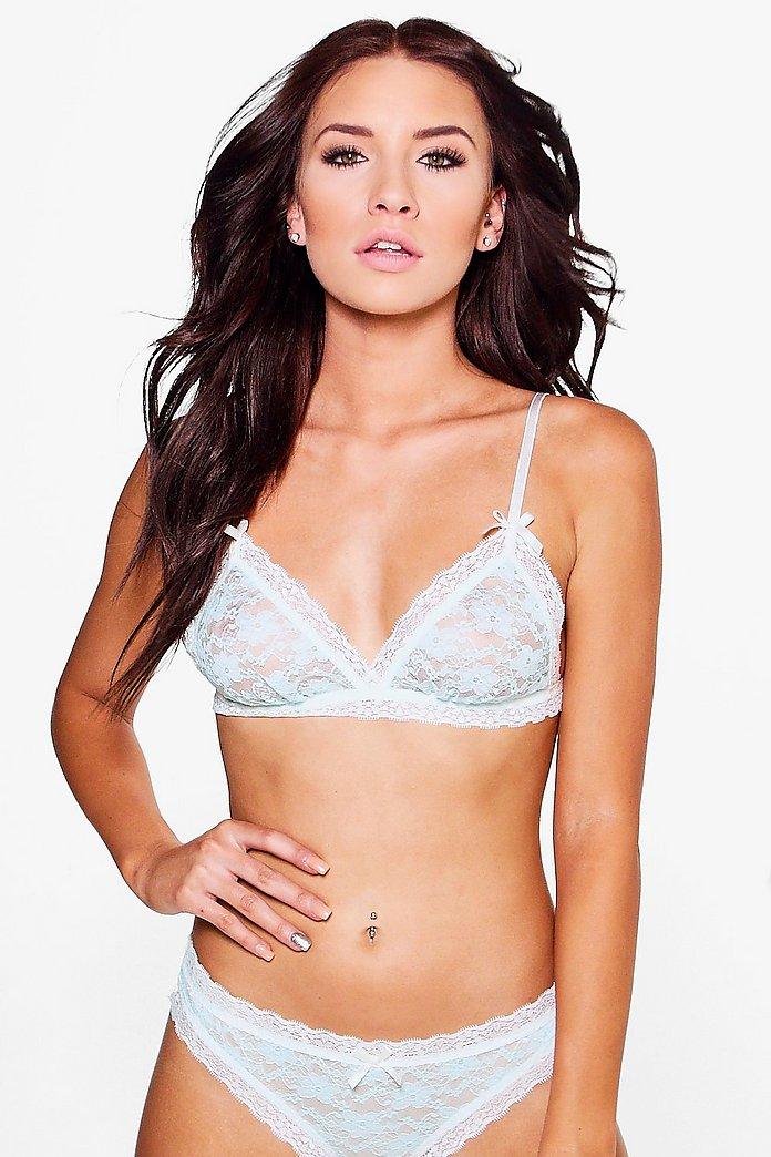 Daisy Blue Pretty Lace Bow Triangle Bra