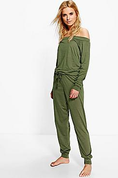 Millie Long Sleeve Bardot Sweat And Jogger Set
