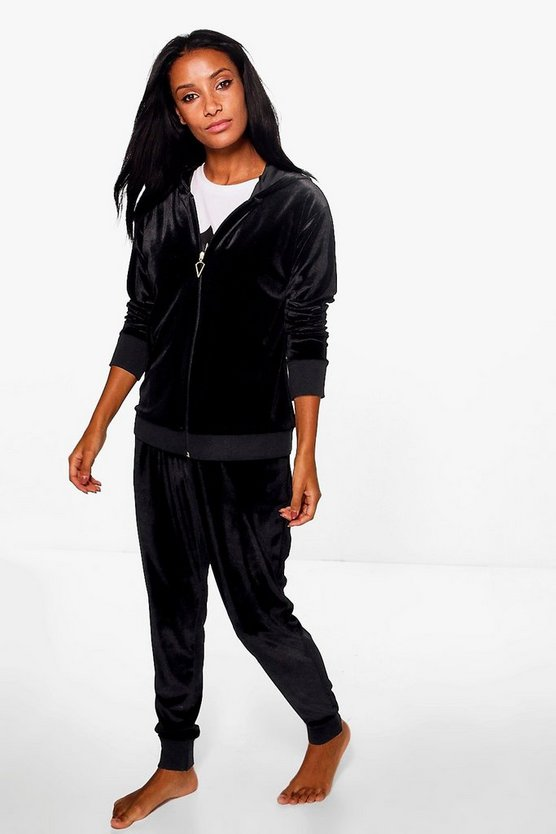 Tia Velour Zip Through Hoody And Jogger Lounge Set