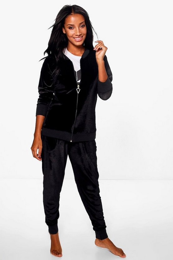 Ivy Velour Bomber Jacket And Jogger Lounge Set