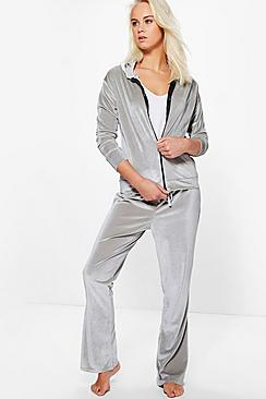 Paige Velour Zip Through Hooded Flare Lounge Set