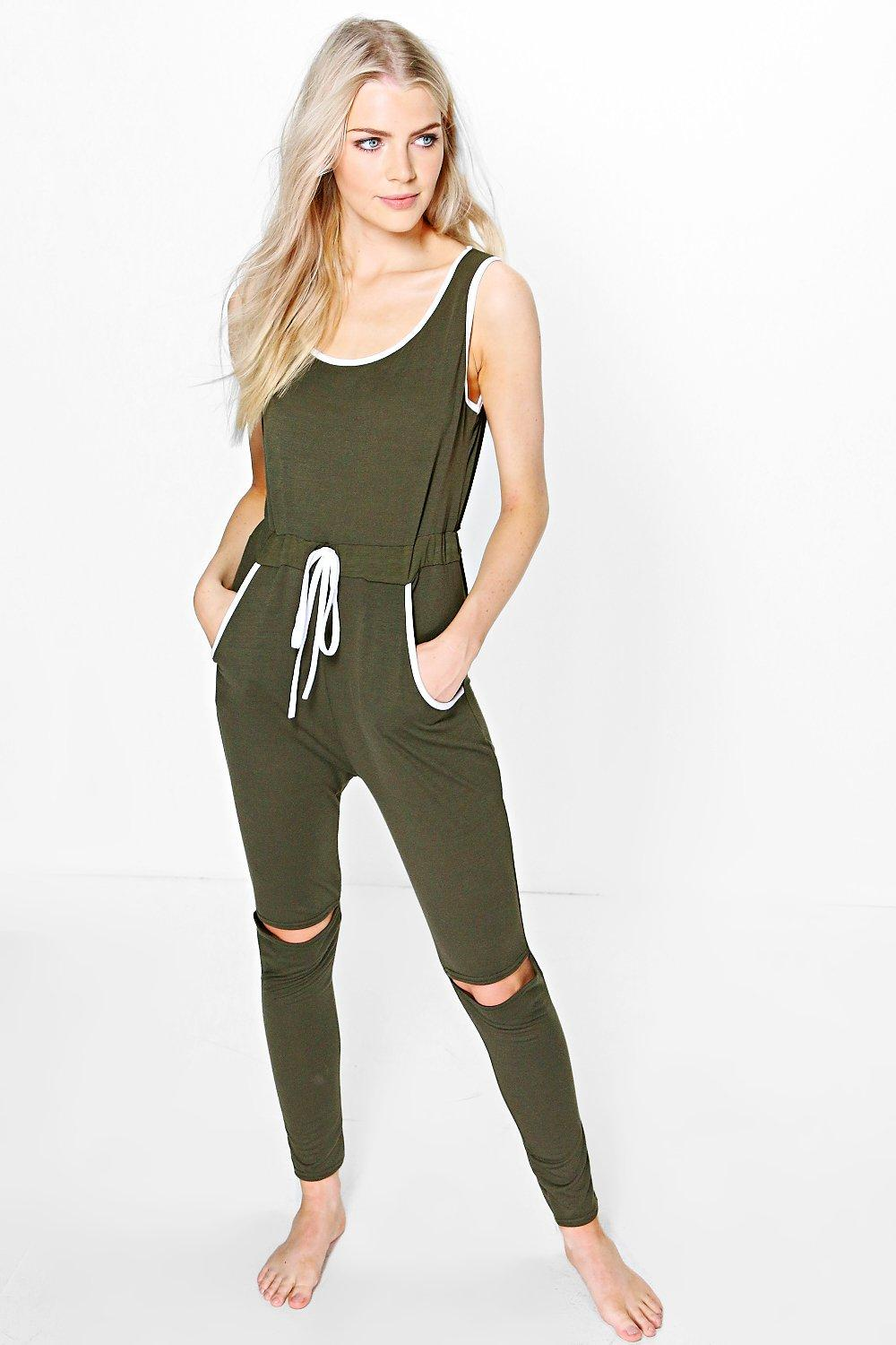 Eva Contrast Binding Split Knee Jumpsuit