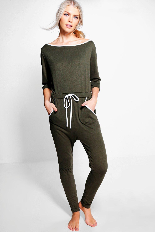 34 Length Tie Waist Slash Neck Jumpsuit  khaki