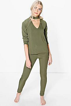 Mia Long Sleeve Choker TshirtAnd Jogger Lounge Set