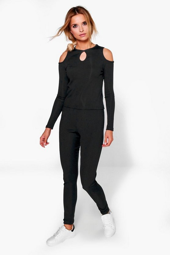 Ella Cold Shoulder Keyhole Top And Legging Set