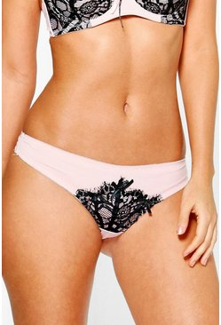 Vanessa Nude Contrast Lace Thong