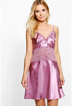 Eloise Satin And Lace Babydoll Dress
