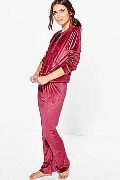 Tia Velvet Hoodie Zip Through Tracksuit