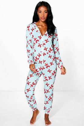 Grace Bow Present Print Hooded Onesie