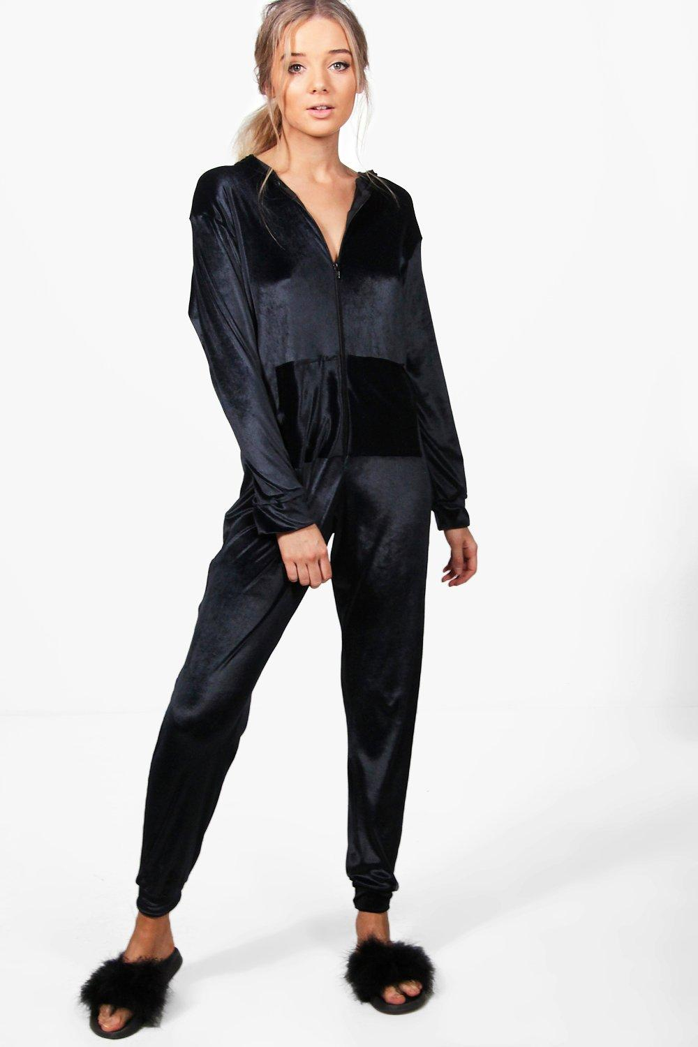 Anna Velvet Pocket Front Zip Through Onesie