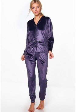 Esme Velvet Pocket Front Zip Through Onesie
