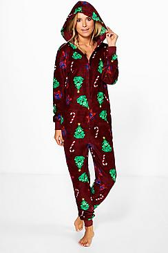 Hollie Christmas Novelty Print Fleece Onesie