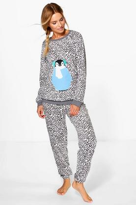 Emily animal Print Fleece Twosie Lounge Set