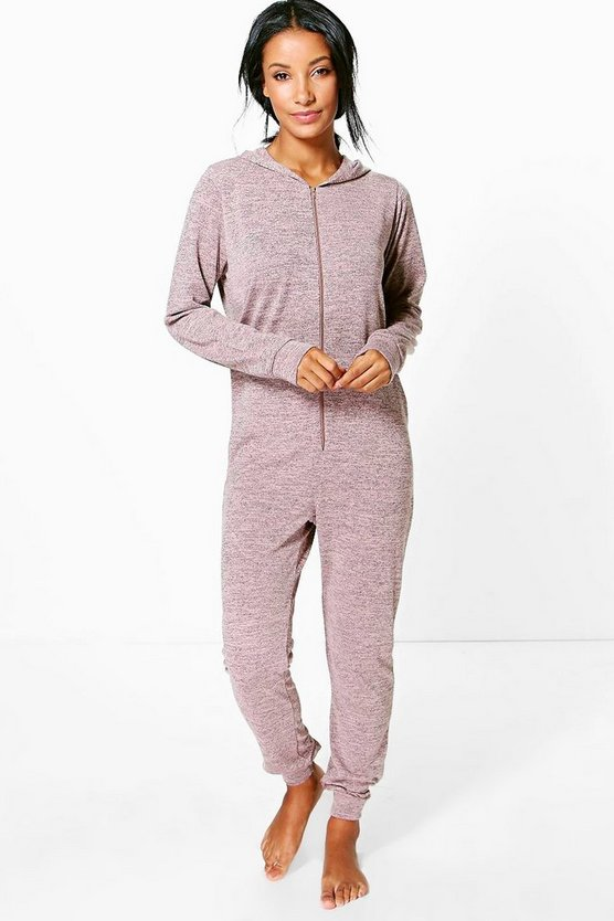 Knitted Zip Front Hooded Onesie