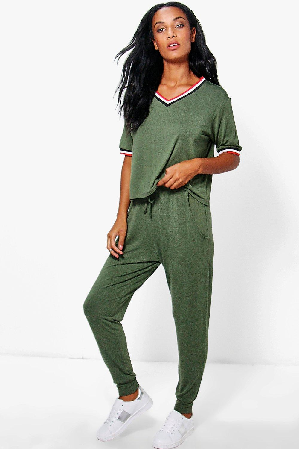 Emma Sports Rib Detail Tshirt And Jogger Set