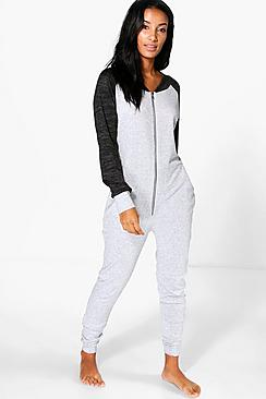 Emma Raglan Sleeve Zip Through Onesie