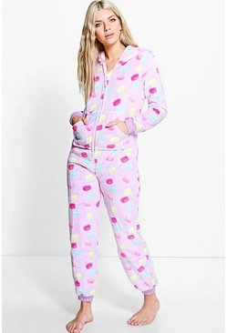 Ella Sweet Print Ear Hooded Zip Up Fleece Onesie