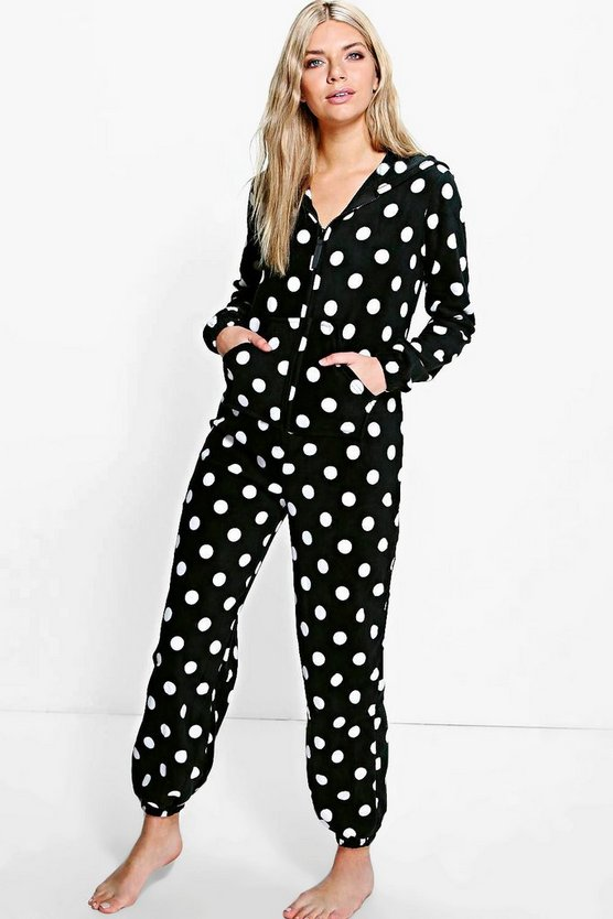 Tilly Polka Dot Hooded Zip Up Fleece Onesie