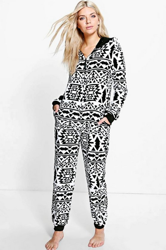 Sarah Aztec Hooded Zip Up Fleece Onesie