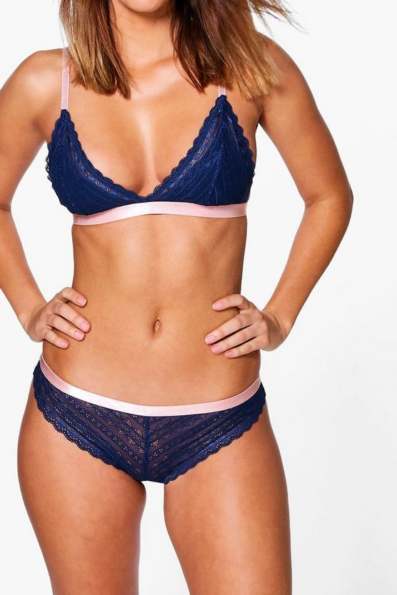 Emma Navy Linear Lace Contrast Trim Brief