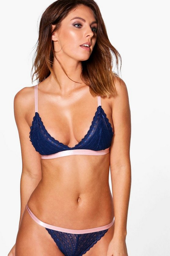 Elena Navy Linear Lace Contrast Trim Thong