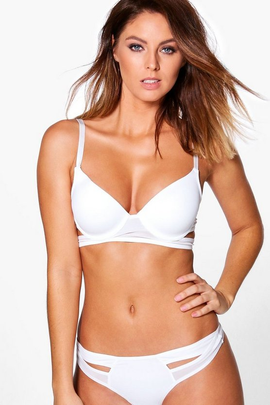 Alice White Strappy Mesh Panelled Underwired Bra