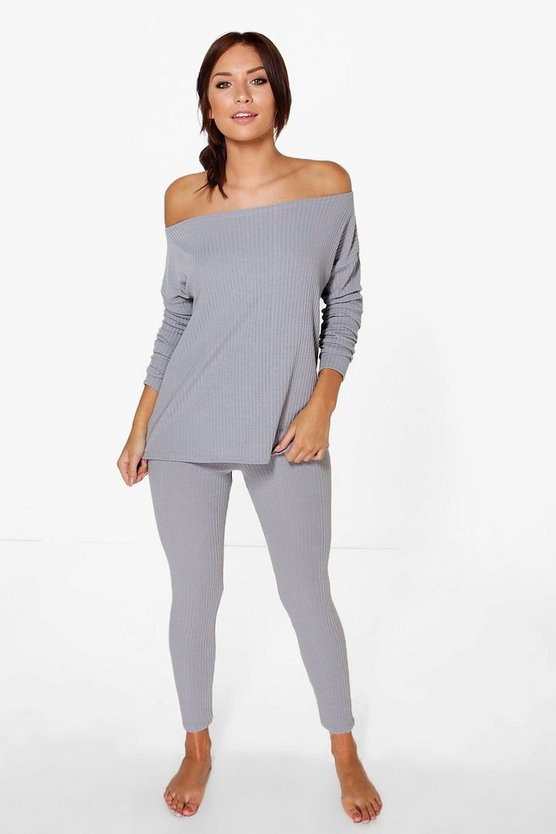 Erin Soft Rib Bardot Top And Legging Lounge Set