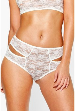 Lydia Cream Lace Cut Out High Waist Brief