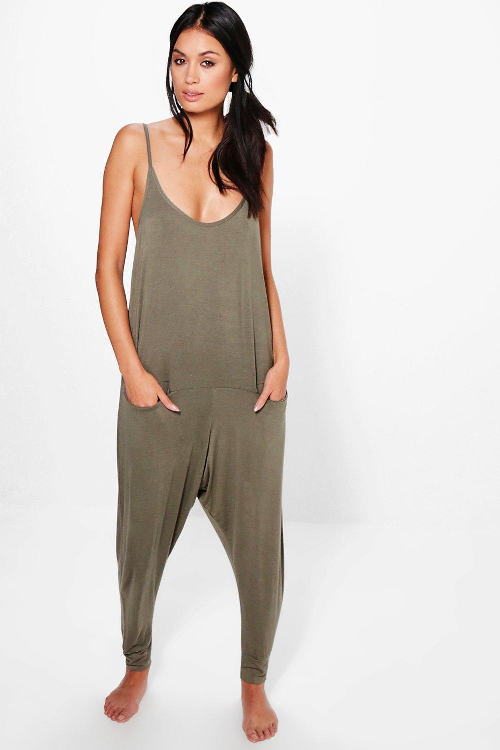 Lucy Pocket Drop Crotch Lounge Romper
