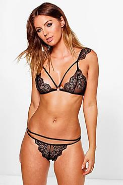 Erin Strap Detail Pretty Lace Bralet + Brief Set
