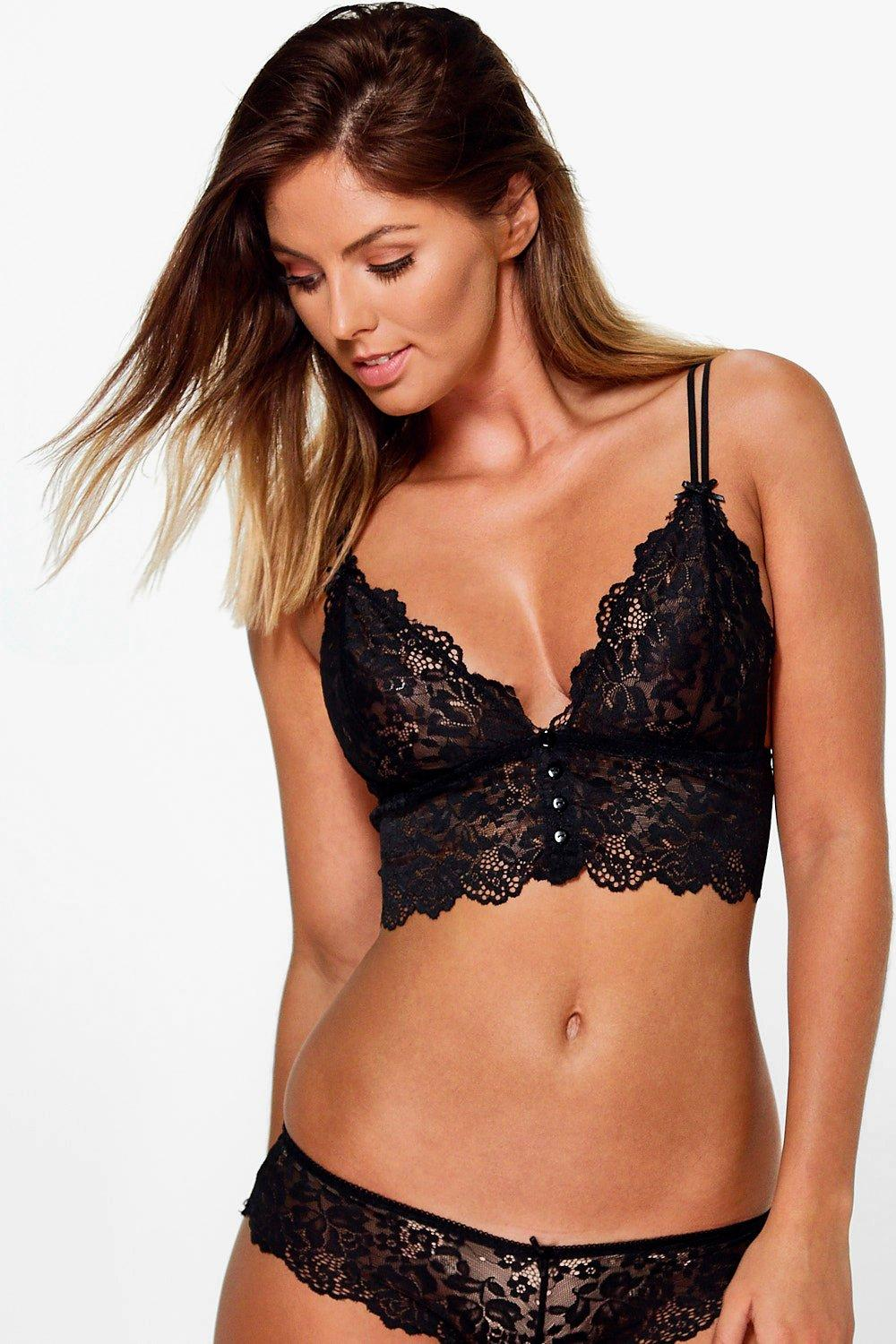 Emilia Black Pretty Button Lace Longline Bralet