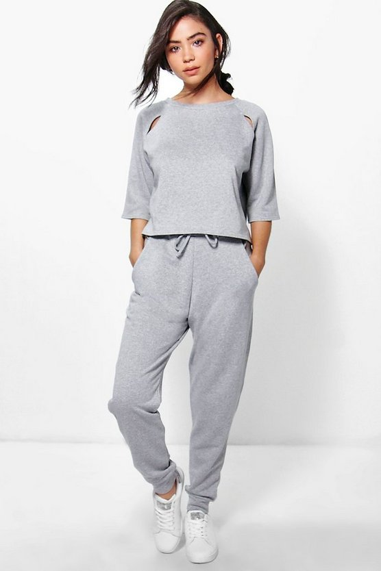 Eva Slit Detail Top + Jogger Lounge Set