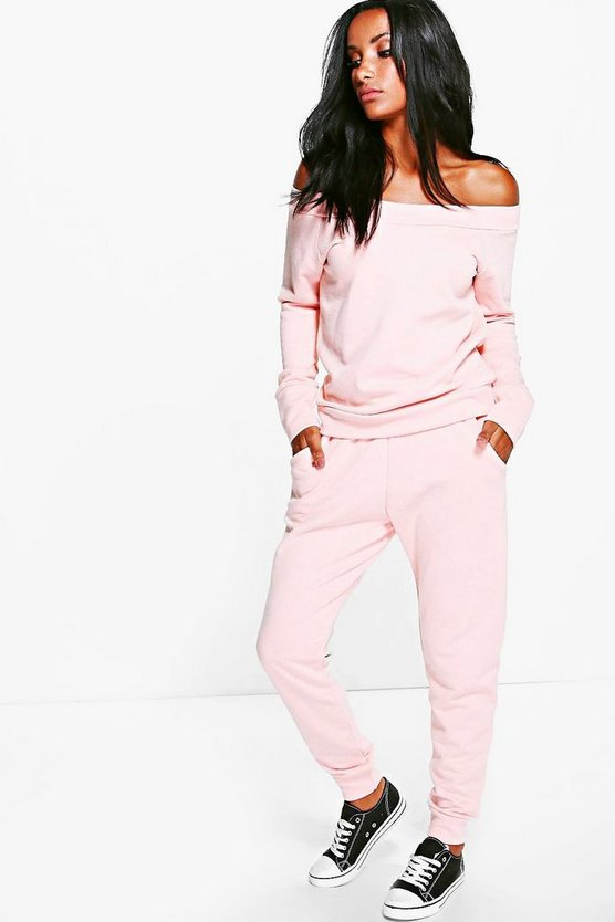 Cara Loop Back Bardot Top + Lounge Jogger Set