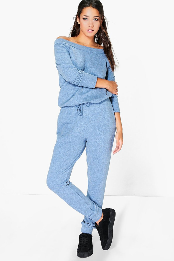 Hannah Loop Back Slash Neck Lounge Jumpsuit