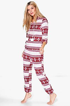 Julia Fairisle Plush Hooded Twosie Set