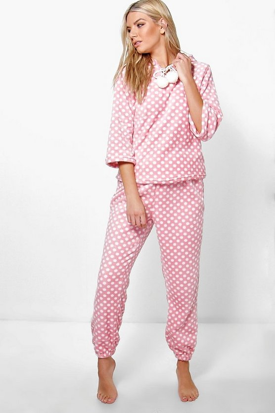 Katie Plush Polka Dot Hooded Twosie Set
