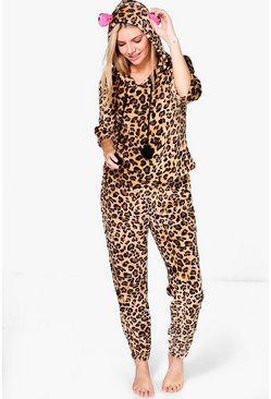 Amy Leopard Print Plush Hooded Twosie Set