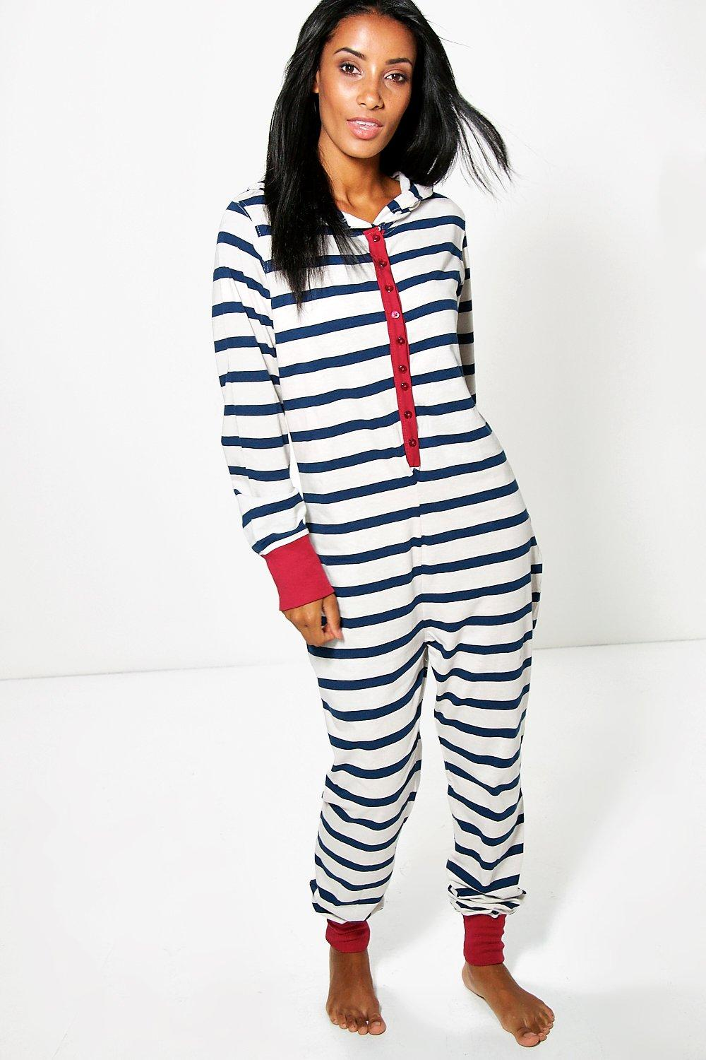 Evie Stripe Contrast Footless Lightweight Onesie