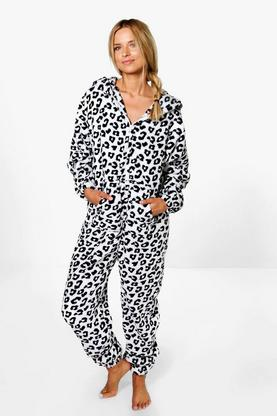 Erin Zip Through Mono Leopard Print Onesie