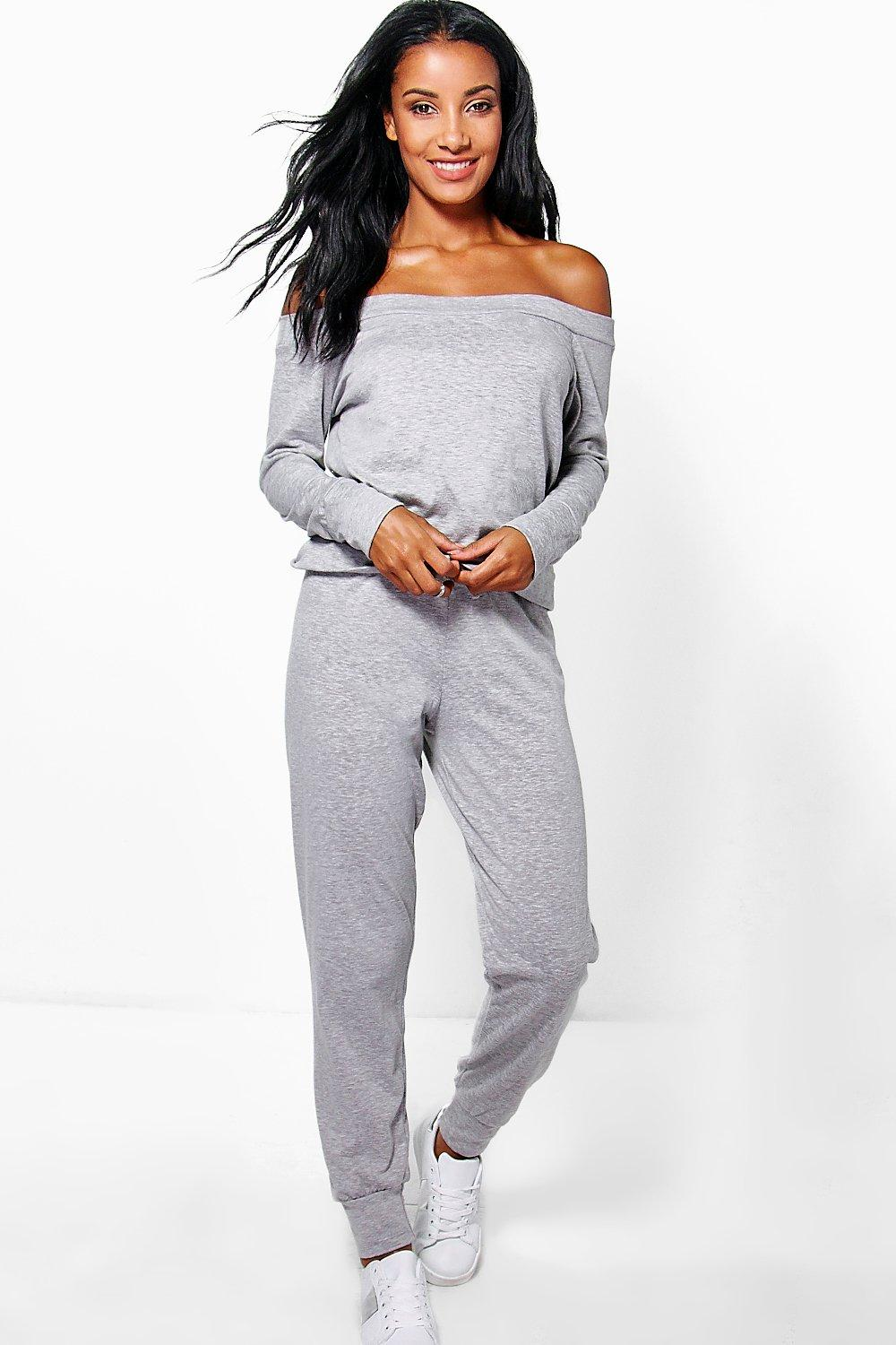 Layla Long Sleeve Bardot Sweat And Jogger Set