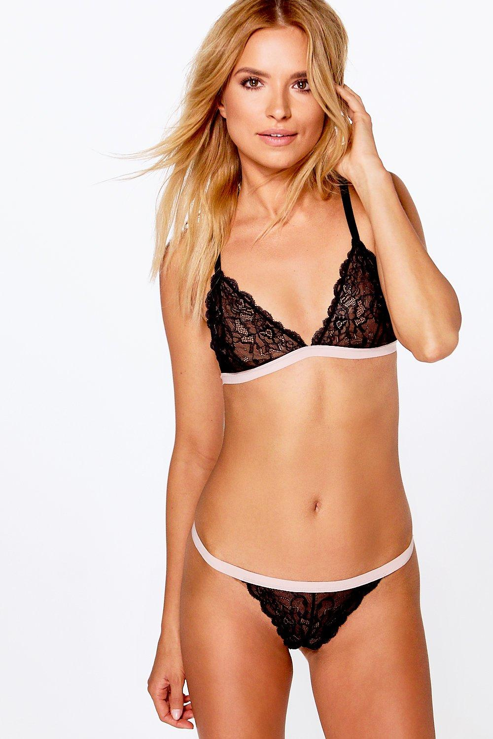 Elizabeth Contrast Band Lace Thong