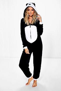 Elise Panda Hooded Fleece Onesie