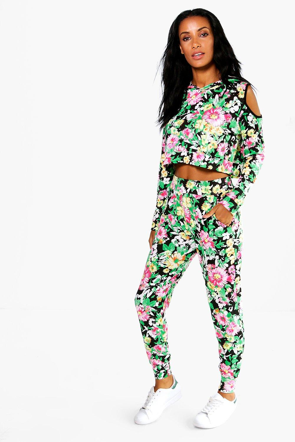 Naomi Rio Floral Print Cold Shoulder Lounge Set