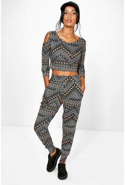 Laura Geo Print Cold Shoulder Lounge Set