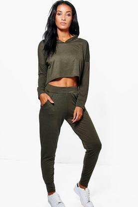 Mollie Dip Hem Hooded Jogger Lounge Set