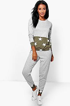 Gracie Star Print Contrast Pocket Lounge Set