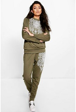 Eve Aztec Print Long Sleeve And Jogger Lounge Set