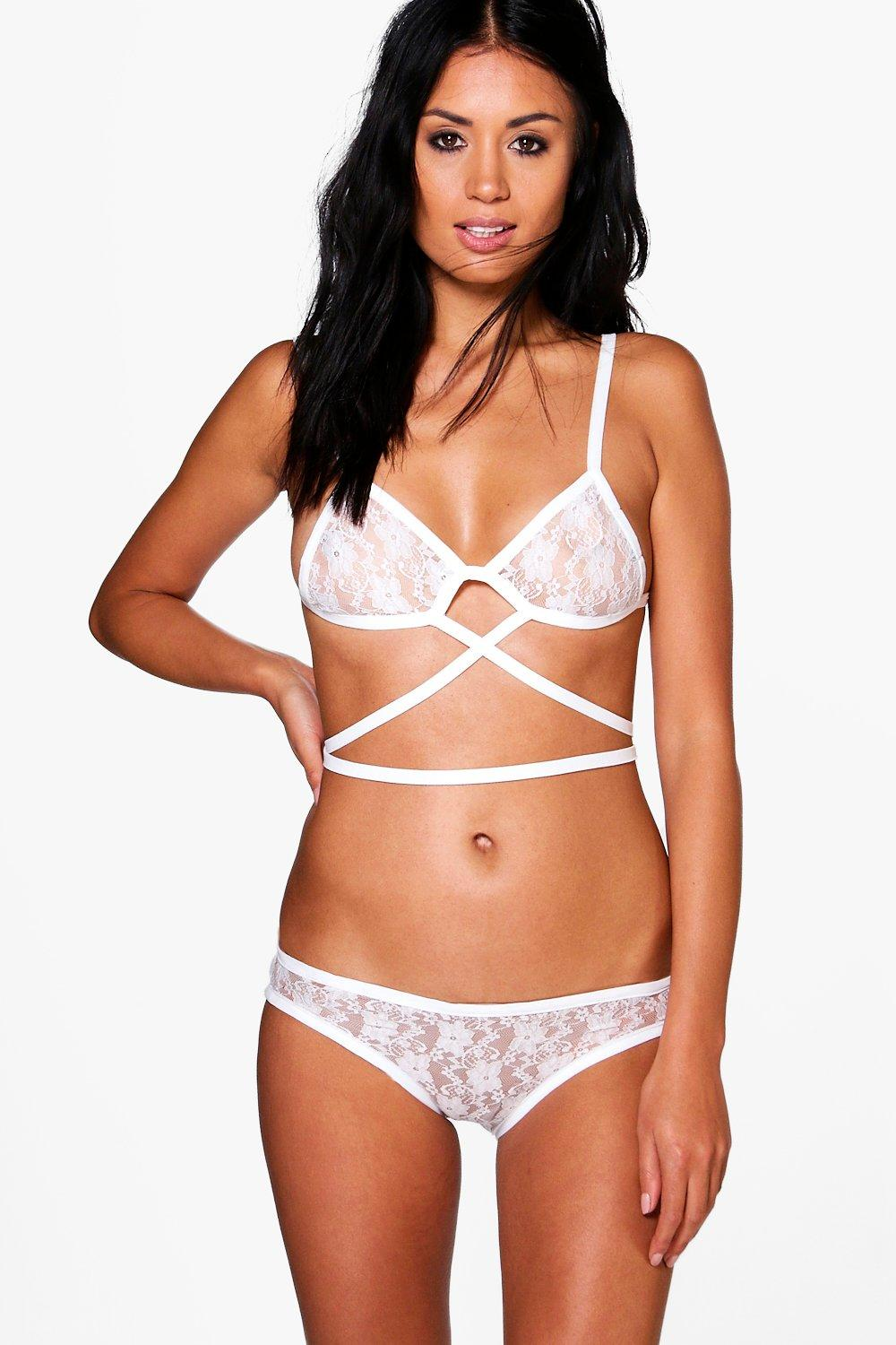 Maisy Bridal Lace Strap Bralet + Brief Set